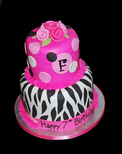 black and pink zebra 7th birthday cake