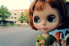 Penny at a bus stop