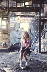 (yyellowbird) Tags: house abandoned girl wall fire illinois chair dress sailor cari schoolgirl rockford