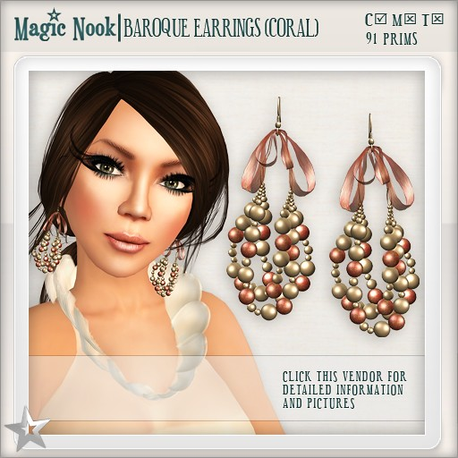 [MAGIC NOOK] Baroque Earrings (Coral)