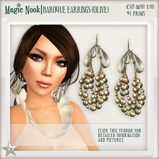 [MAGIC NOOK] Baroque Earrings (Olive)