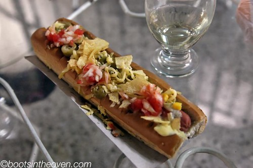 Crazy hot dog!  (Chips, fontina, celery aioli, corn...)