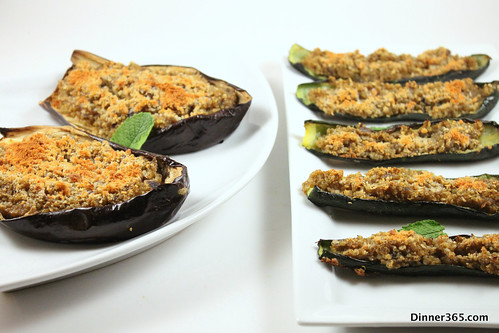 Day 231 - Quinoa Stuffed Eggplant and Zucchini