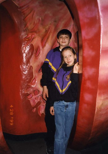 Will (14) and Christina (9) in the 16-foot walk-through heart at the Museum of Science and Industry in Chicago, 1999. This inspired a mini unit on the heart.