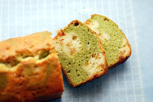 Green tea and ginger marble cake