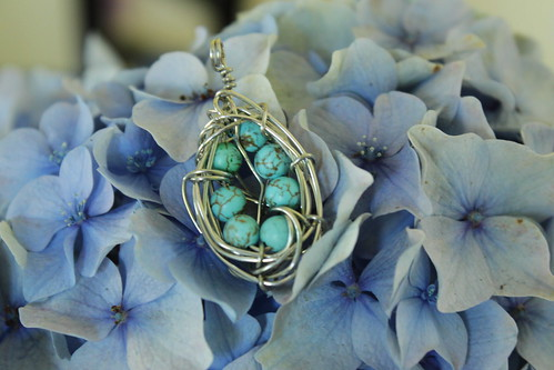 Seven eggs in a nest pendant