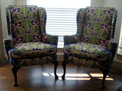 My re-upholstered wing chairs