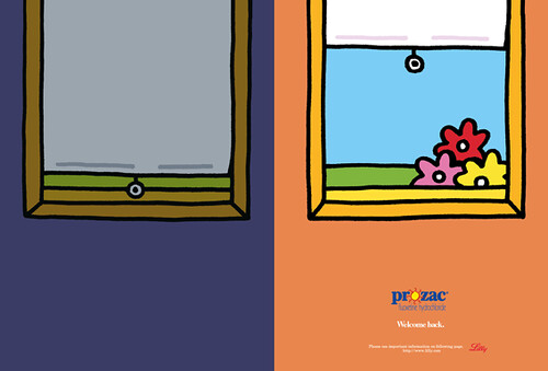 A Prozac print ad, in a dyptich. Depression is a closed blind and dark wall, Prozac is an open blind with flowers visible through the window and a bright wall.