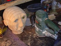 Automaton head sanded