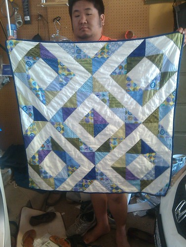 Boy half square triangle quilt front