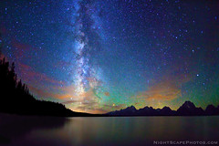 "Stars, Milky Way, Jackson Lake, Grand Teton NP (IronRodArt - Royce Bair (""Star Shooter"")) Tags: park blue trees sunset sky lake nature silhouette mystery night clouds forest dark way stars dawn evening shiny long exposure heaven glow shine time dusk infinity space horizon deep gr"