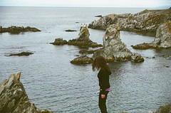 madrock (klausfish) Tags: ocean summer cliff film girl 35mm newfoundland coast rocks hike atlantic expiredfilm