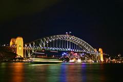 Sydney Habour Bridge (Brian Aslak) Tags: city longexposure bridge urban water night lights colours waterfront sydney australia ponte most nsw newsouthwales sydneyharbour sydneyharbourbridge  portjackson sydneyfjorden sydneyfjordbrua