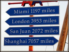 Navy Pier Mileage Sign (Stuart Axe) Tags: usa chicago london sign america us shanghai unitedstates miami unitedstatesofamerica sanjuan navypier americanairlines aa