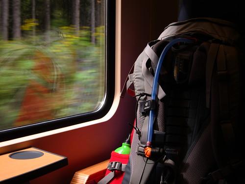 Backpacks on Train by Danalynn C