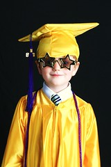 kindergarden graduate Cap n Gown with star glasses (eWeberPhotographer) Tags: school boy gold student purple dressup tie graduate tassle kindergarden schoolsout shirtandtie capngown starglasses honorchords