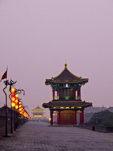 Xi'an city walls at dusk