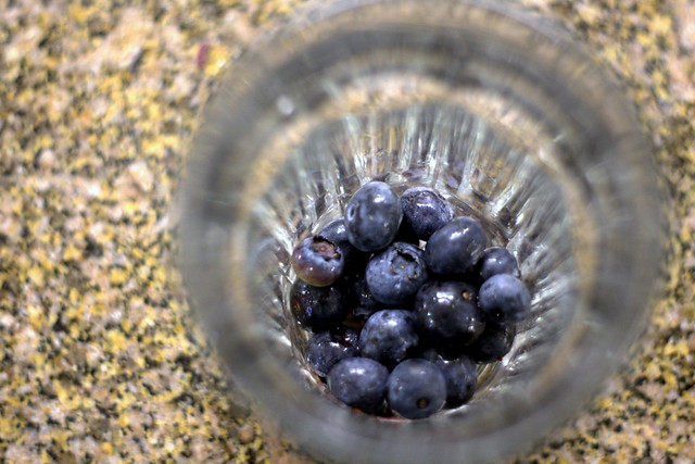 blueberries in glass