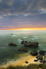 nmr055 2011... A few minutes after the rain - Explored (Nuno M. Ribeiro) Tags: ocean longexposure sunset sea orange sun sol clouds canon milfontes vilanovademilfontes 550d