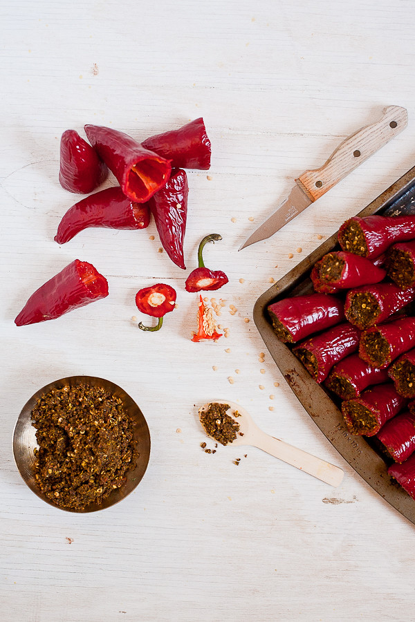 Pickling red chili peppers