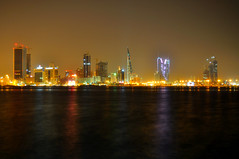 Diplomatic Area ,Bahrain .. ((Explored)) (Talal Maraghi [BHR]) Tags: sea reflection night buildings bahrain colours manama diplomaticarea explored fotocompetitionbronze