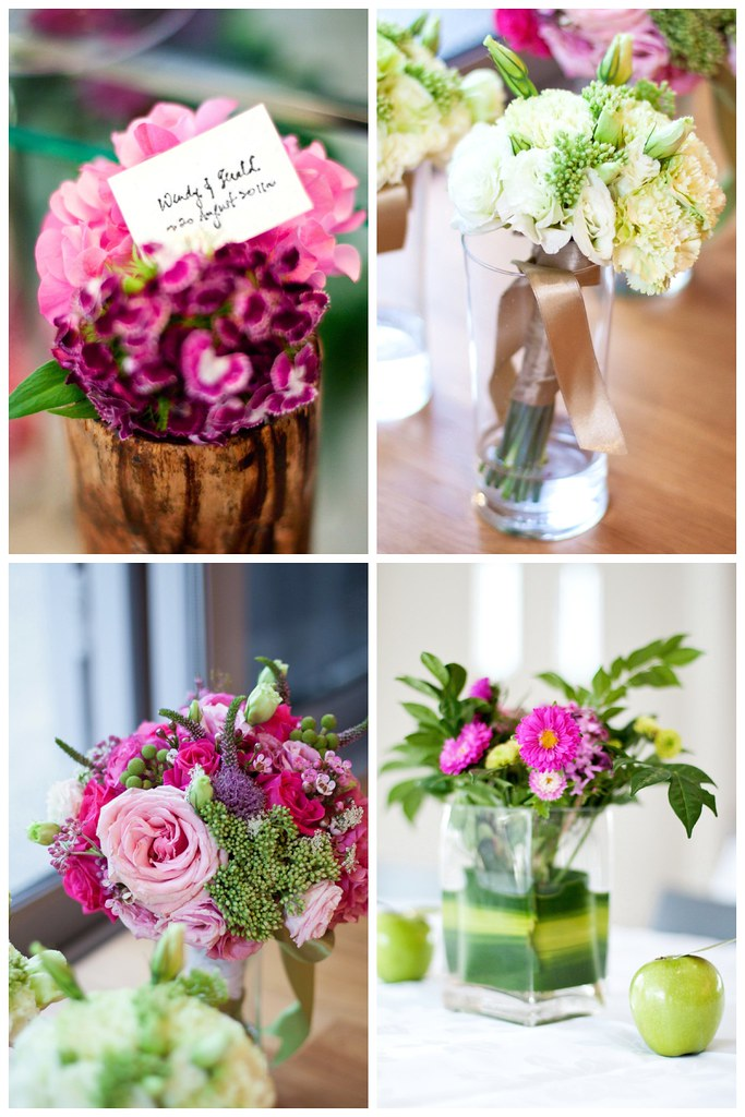 Flowers at J's wedding collage