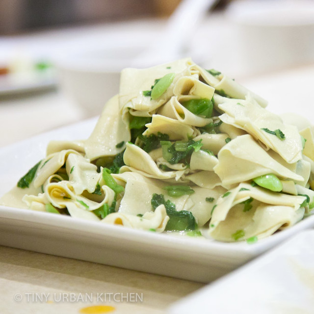Ding Tai Fung tofu mustard greens edamame