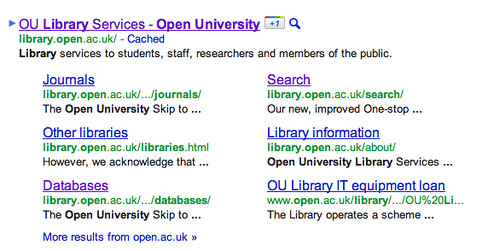 OU library snippets and sitelinks