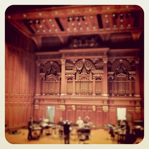 The percussion ensemble rehearses at Jordan Hall in New England Conservatory, but Erin forgot her castanets.