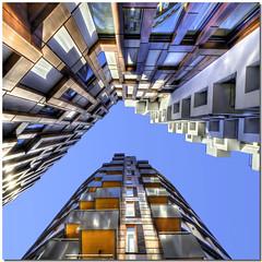 Ʌ (Nespyxel) Tags: lines oslo architecture buildings norge pov wide perspective akerbrygge lookingup 8mm grandangolo architettura aker norvegia palazzi prospettiva brygge geometrie linee geometries noseup colorphotoaward nespyxel stefanoscarselli