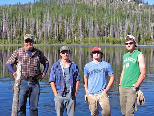 Baker City, Ore., July 2011. Hitting the trail with the Trail Crew. From left to right: Todd Robinette, Cody Powell, Nathan Tanaka and Andrew Livingston.