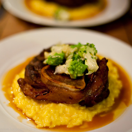 Braised Veal Shin, Saffron Risotto, Romanesco