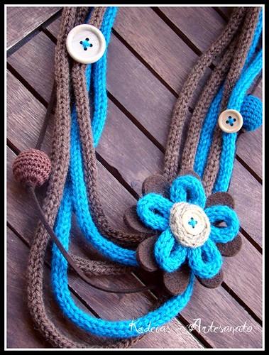 ♥ Colar lã castanho e azul ♥ by kideias - Artesanato