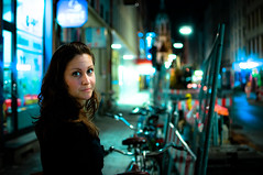 Going Home (alan_ofm) Tags: portrait woman girl night germany munich lights quiet meghan bokeh oktoberfest silence nightlife wiesn