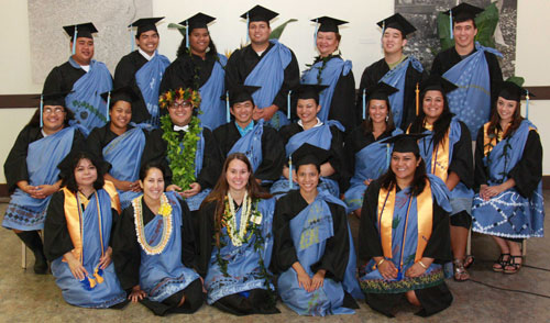 group shot of Native Hawaiian graduates in regalia