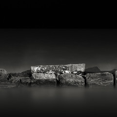 The Breaks (Jeff Gaydash) Tags: blackandwhite water night square rocks lakeerie cleveland greatlakes breakwall