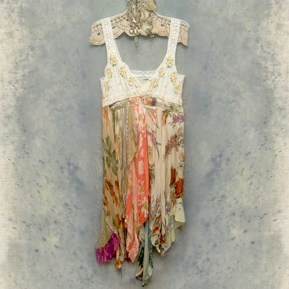 Vintage Slip Dress Reconstructed One of a Kind Boho Style Dress or Top