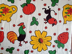 Coloring book (Groovecloth) Tags: red green apple vintage strawberry fabric cotton poodle daisy teapot rooster 36 30s 40s