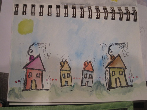 painting stamped houses with watercolor