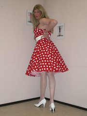 Polka dot dress. (sabine57) Tags: drag tv cd crossdressing tgirl transgender tranny transvestite crossdresser crossdress nylons transvestism