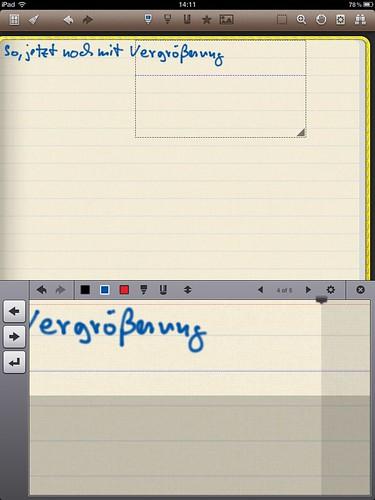 Noteshelf im Einsatz: Mit Vergrößerung