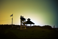 At The Beach (RLJ Photography NYC) Tags: sky moon love beach night stars sand flag romance together