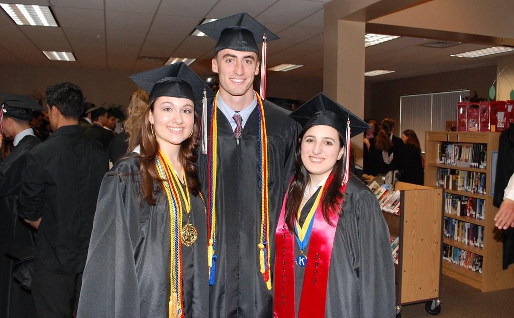Sagemont graduates Emily Maddox, Dylan Flynn and Beatriz Mourad.