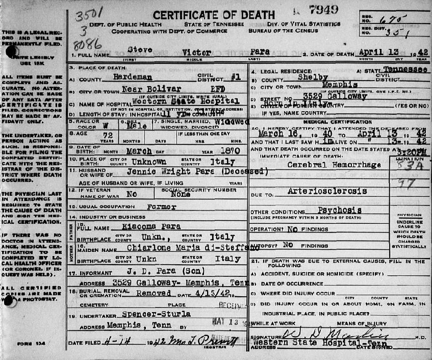 Steven Victor Para Death Certificate