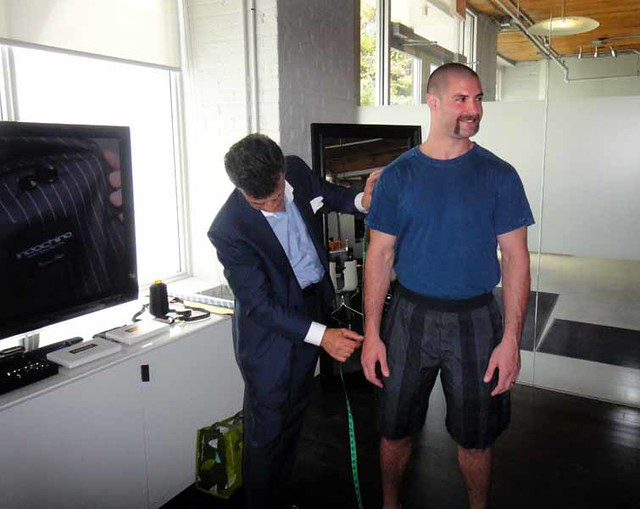 Toronto Maple Leaf Mike Brown being measured for his Indochino suit
