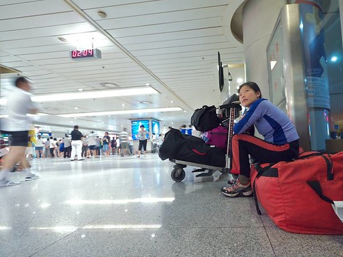 DEA36268 Szu-ting waiting at 2am in the Chengdu airport  for Erics flight to arrive