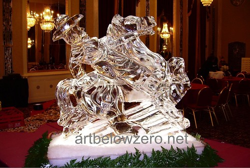 Cowboy on Horse ice sculpture