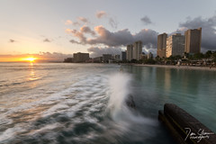 Waikiki Wave Break (Dan Sherman) Tags: ocean sunset beach water buildings island hawaii waves cityscape pacific waikiki oahu wave pacificocean southpacific hawaiiansunset hotels waikikibeach pacificisland hawaiianislands pacificsunset hawaiisunset waikikisunset oahusunset danshermanphotography danshermanphotographycom