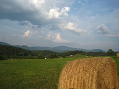 The Cowee Mountains. (MTBradley) Tags: sky field clouds geotagged us nc view unitedstates scenic berge vista hay bergen  appalachia montaas montagnes wnc westernnorthcarolina maconcounty viewshed southernappalachians coweemountains
