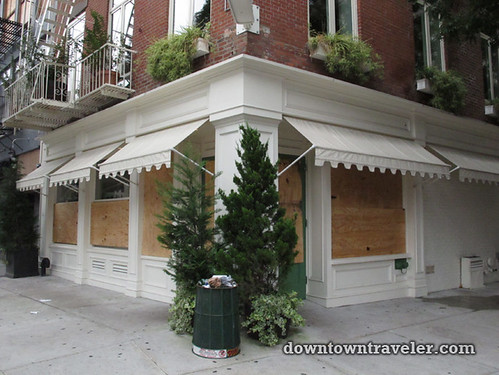 NYC getting ready for Hurricane_Shuttered restaurant on Bowery